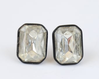 Vintage 40s paste DECO clip on earrings