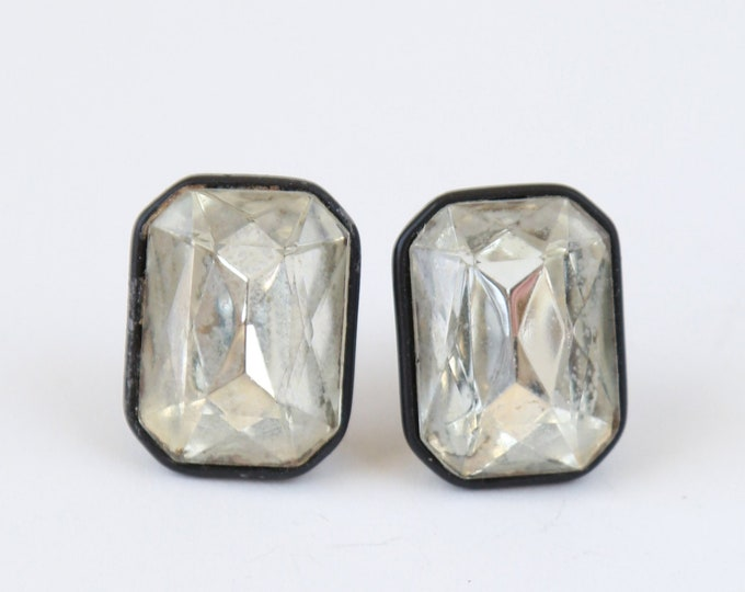 Vintage 40s Crystal DECO clip on earrings