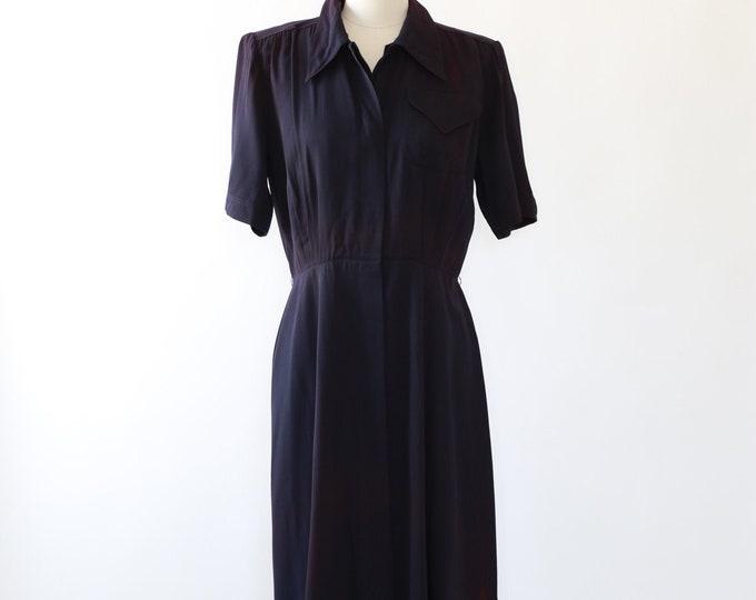 George Hess dress | Vintage 40s Navy blue dress | 1940s dress