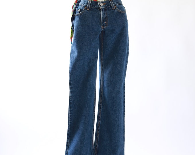 518 red tab Levis dark wash blue jeans | USA skinny straight leg M