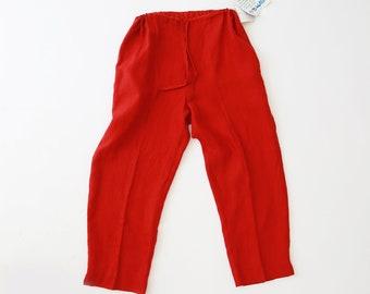 Paprika linen pants | vintage linen pants | oversized baggy cropped linen pants
