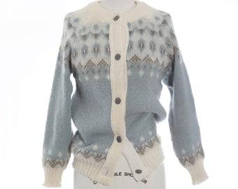 Norwegian wool sweater | Vintage 70s Fair Isle blue Nordic cardigan | 1970s Hand knit Norway wool sweater