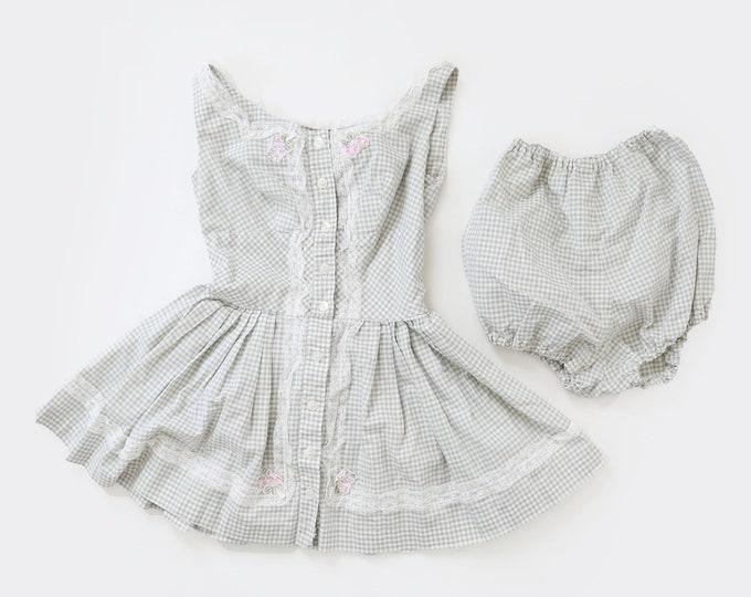 40s romper | Vintage 40s gingham 2pc playsuit | girls romper | petite women's mini dress