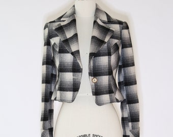 Vintage 40s cropped plaid coat jacket
