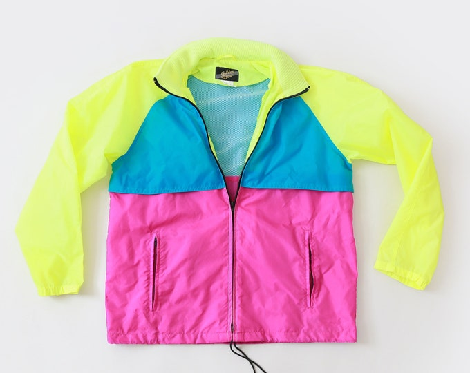 Color-block windbreaker | vintage 80s Golden Bear neon winder breaker jacket M