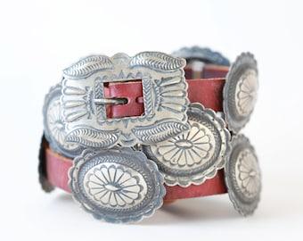 Vintage Antique Second Phase signed Navajo Silver Concho Belt | Navajo sterling silver Concho belt