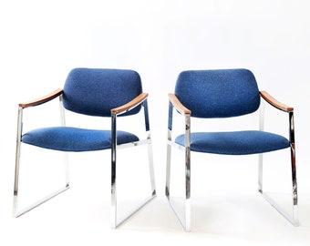 Vintage Mid Century Modern Milo Baughman Probber style chrome armchairs