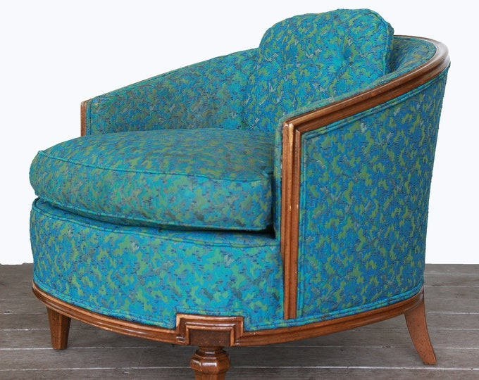 Vintage 60s Mid Century Modern Blue Atomic Barrel bucket blue chair