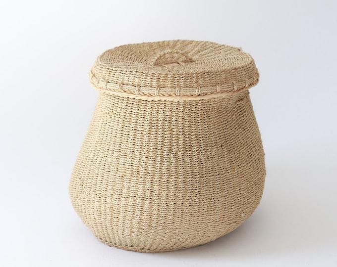 African bucket | vintage woven basket | woven african basket