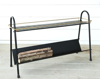 Vintage Mid Century Modern magazine log holder | Modernist fireplace rack