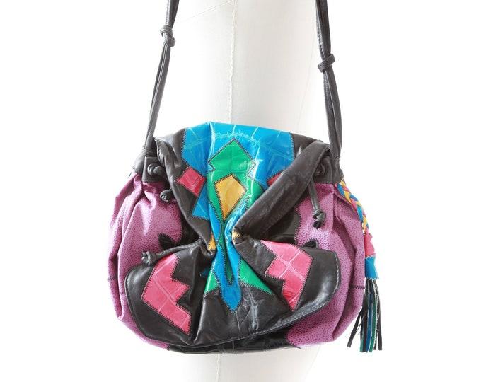 Patchwork leather purse | Vintage 80s leather purse | Colorful color block cross body bag