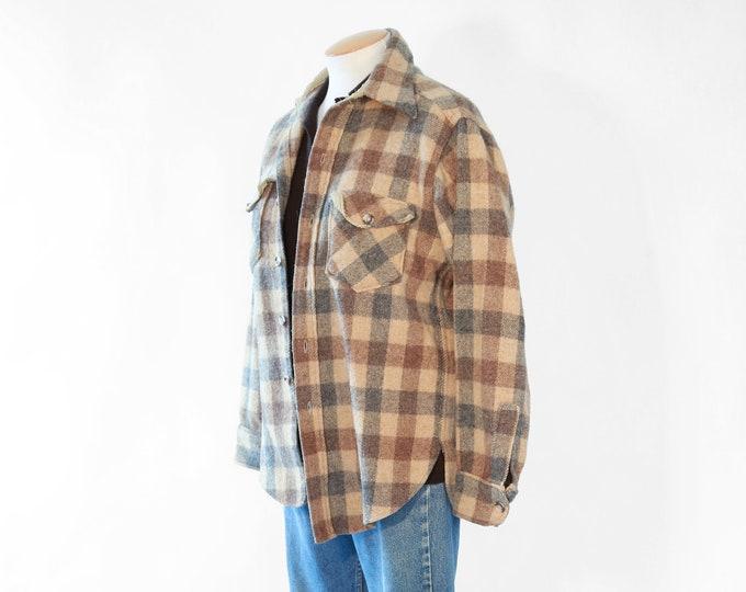 Vintage 70s WOOLWICH brown Plaid Hunting Wool Jacket women's shirt top M