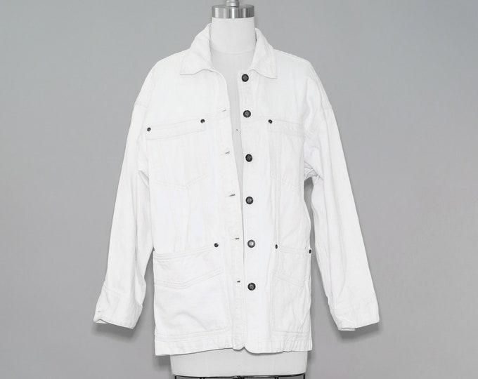 White denim chore jacket | Vintage 90s jean jacket