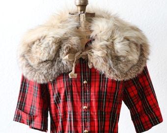 Vintage 50s FOX FUR wedding shawl cape scarf wrap BOW collar