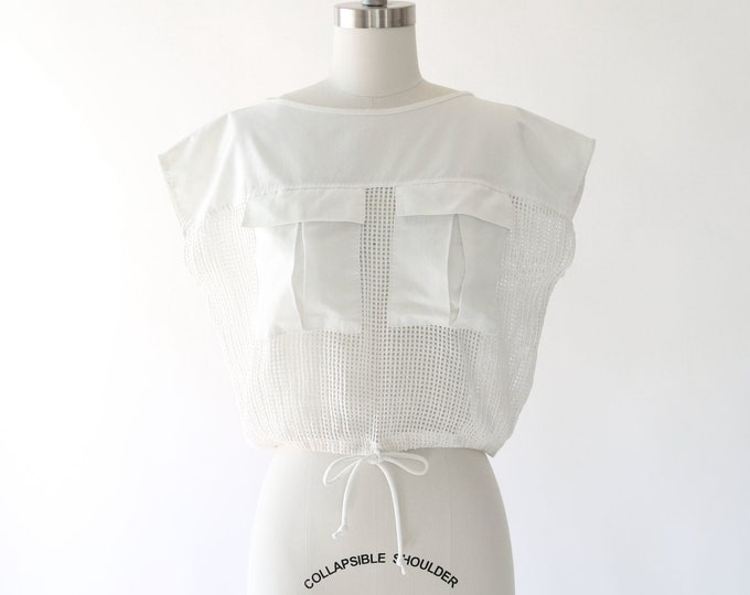 Fishnet shirt | Vintage 80s cropped net pocket tee