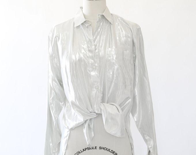 Liquid silver blouse | Vintage 70s Metallic silver top