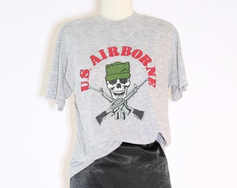 US Airborn T - Shirt  | Vintage 70s 80s Military Tee | Paper thin T -shirt