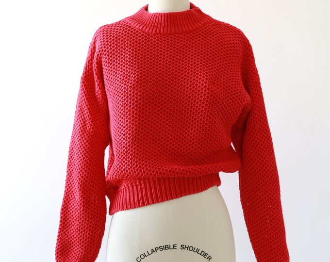 80s cropped red knit ramie cotton sweater