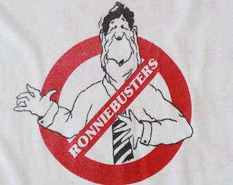 Ronnie Busters ringer tee | vintage 80s Ronnie Busters Ronald Reagan political t-shirt| 1984 Ronald Reagan t-shirt