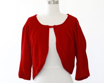 Crimson velvet bolero | Vintage 60s velvet Bolero jacket
