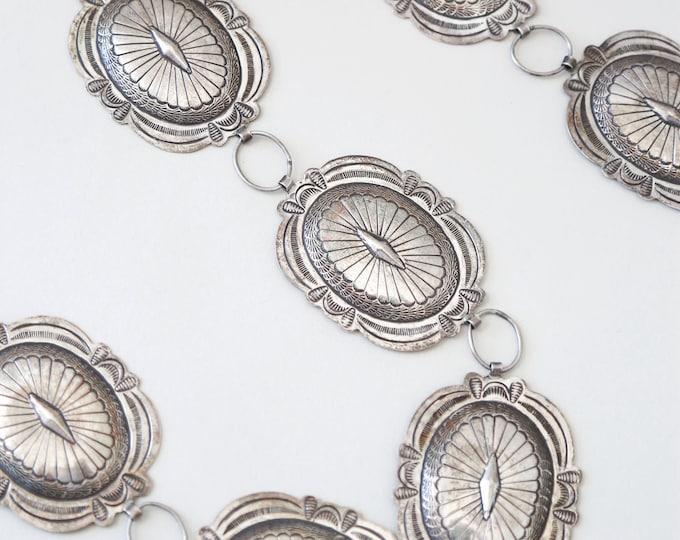 Vintage sterling silver Concho belt | Native American Southwestern belt