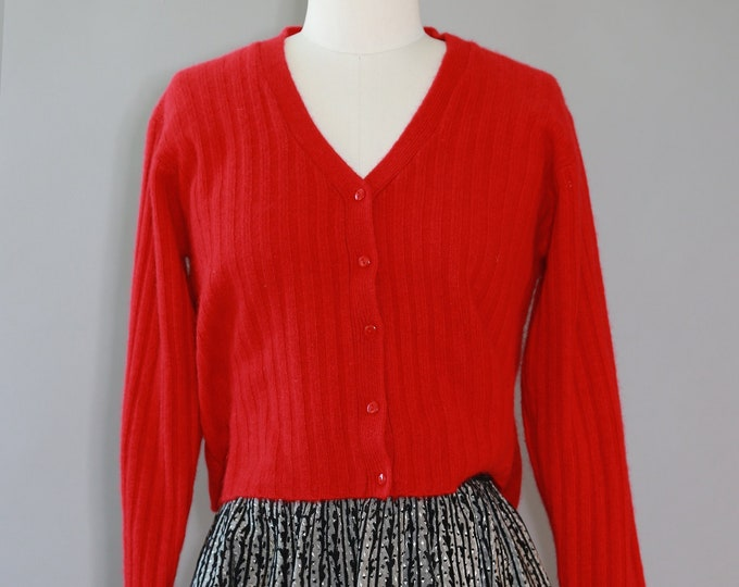 Angora knit sweater | Vintage 90s red knit cropped lambswool cardigan
