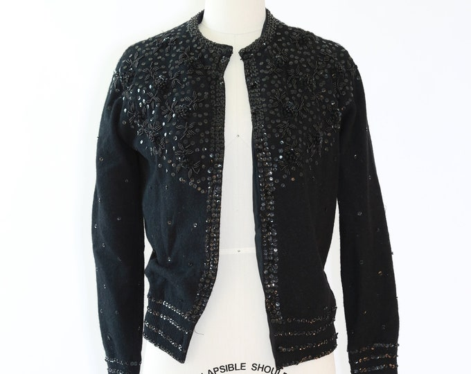 Vintage 50s beaded sequin Angora knit lambswool cardigan sweater