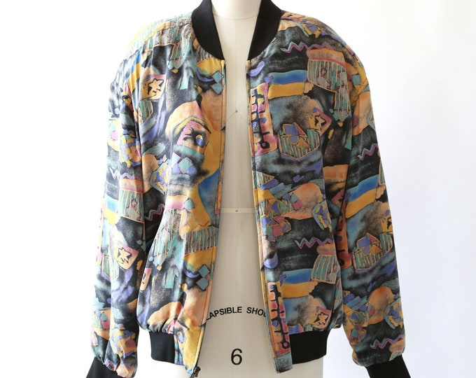 Silk bomber | Vintage 90s abstract silk Bomber coat jacket M