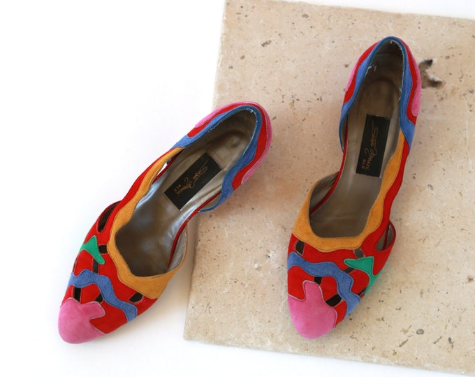Sesto Meucci OLE leather flats | Vintage 80s rainbow leather heels Sz 6 1/2
