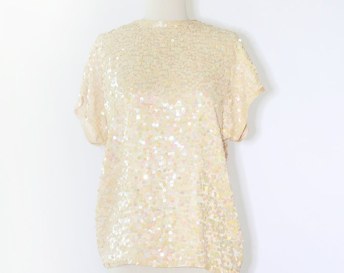 Iridescent sequin blouse | Vintage 80s silk Sequin blouse M