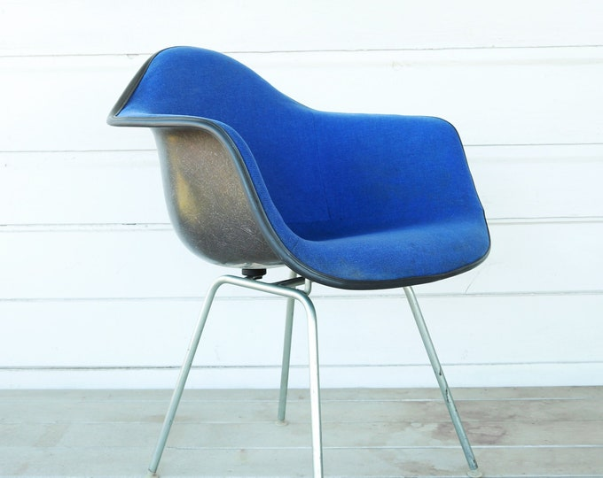 Herman Miller Shell chair | Mid Century Modern Herman Miller Eames Girard blue tweed Armchair shell chair