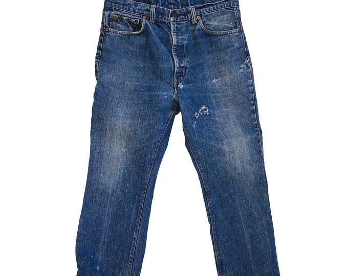 Vintage 70s 517 red tab Levis blue jeans straight leg W34 L25 1/2