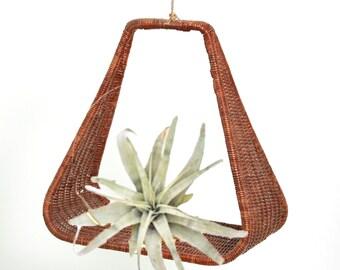 Vintage hanging rattan basket | Mid Century Modern hanging planter | Hanging shelf