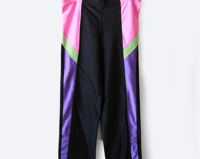 Vintage 80s neon BIKE cycling cropped spandex athletic LYCRA leggings M