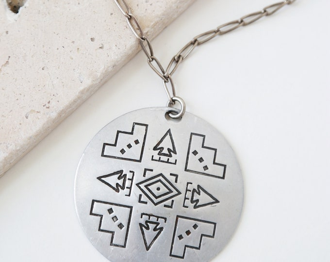 Native ethnic round necklace  | Hopi Pendant necklace | Handmade chain