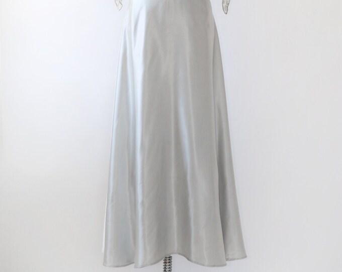 Liquid silver wedding skirt | Vintage 90s wedding skirt | Silver maxi skirt