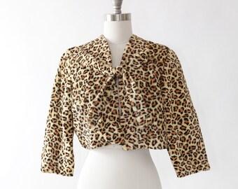 Leopard print bolero   Vintage 50s faux fur leopard print bolero   faux fur cropped coat