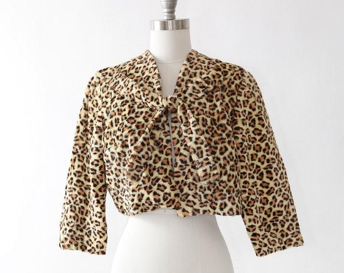 Leopard print bolero | Vintage 50s faux fur leopard print bolero | faux fur cropped coat