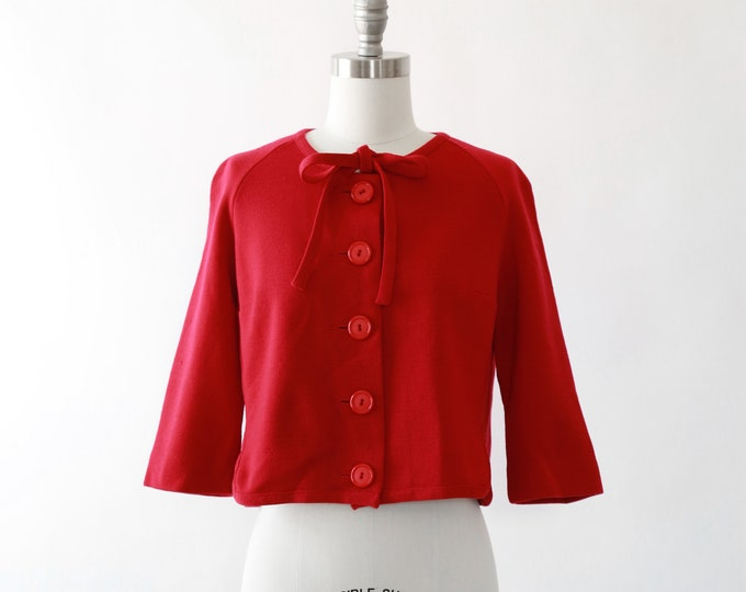 Kimberly crimson cardigan | Vintage 50s wool cardigan | Deadstock Bow knit sweater