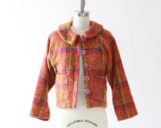 Ralph Lauren plaid cardigan | Vintage 80s 90s Ralph Lauren rainbow knit wool cardigan Sweater