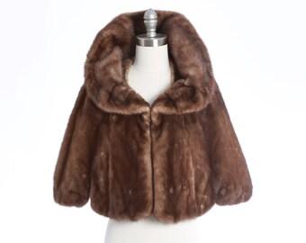Gunmetal mink fur stole   Vintage 50s Mink fur Cape Bolero   1950s mink fur Wedding bolero