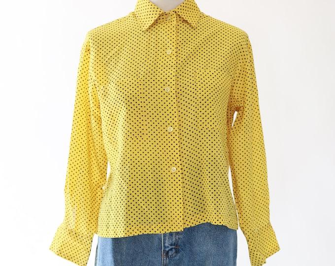 Polka Dot blouse | Vintage 60s yellow cropped top