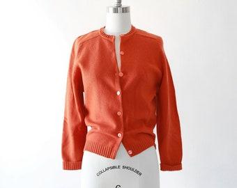 Pumpkin knit cardigan | Vintage 50s wool knit cardigan sweater | Orange knit sweater