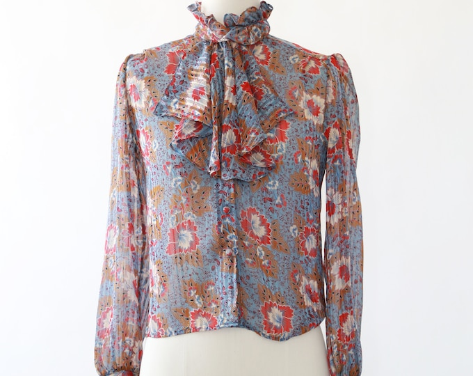 70s floral ruffle blouse