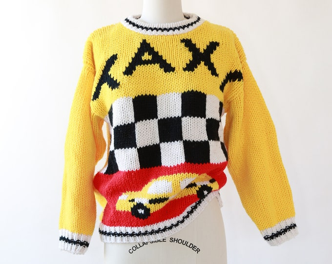 Taxi cab Sweater | Vintage 80s Hand knit Taxi sweater