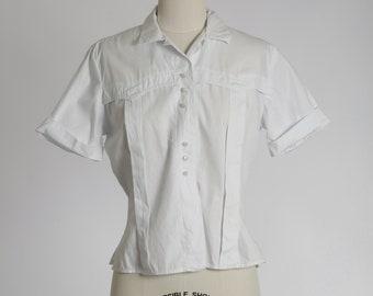 Fritzi cotton blouse |  Vintage 1950s white cropped blouse | 1950s blouse