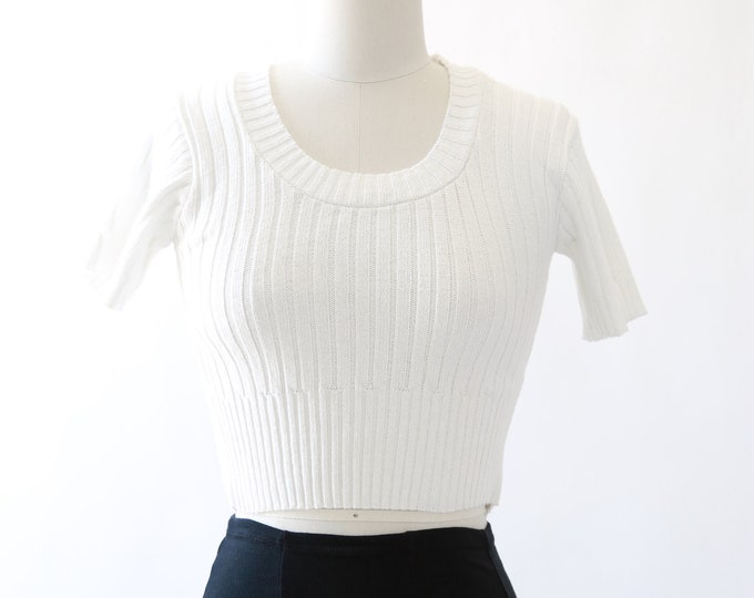 90s white ribbed knit crop top