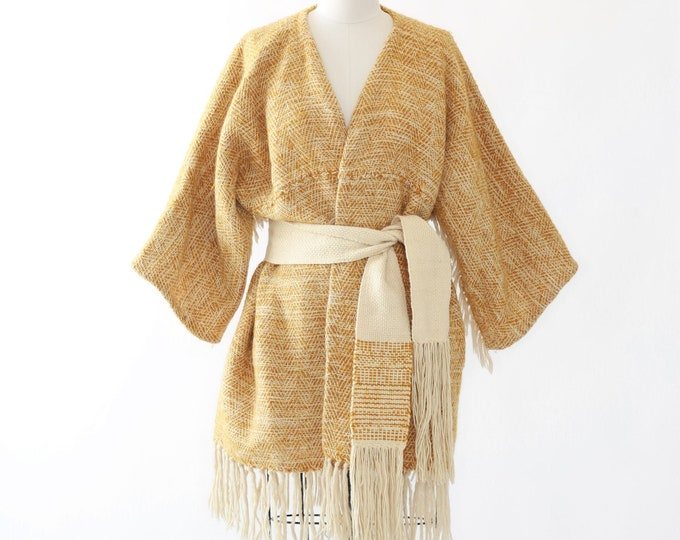 Mustard woven tapestry wrap jacket | Vintage 60s hand woven fringe coat | woven wrap jacket