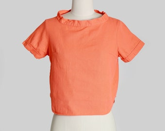 Jeanie top | Vintage 60s orange top | 1960s boatneck cotton top