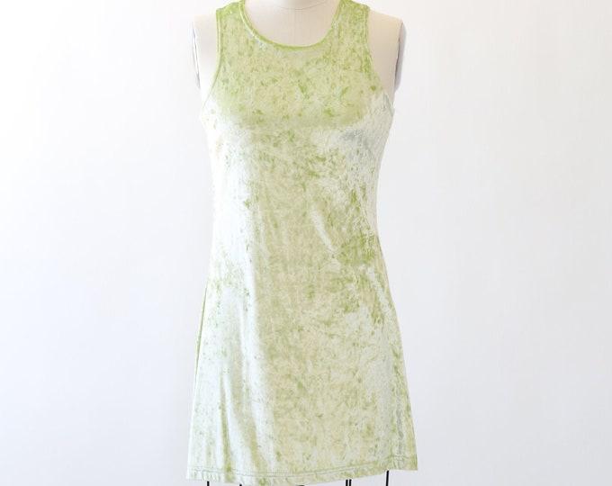 90s neon green Velvet mini Dress